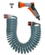 Шланг спиральный с фитингами и наконечником для полива GARDENA